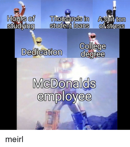 College, Loans, and Student Loans: Hours of Thousands in  ng Student loans  Ashit ton  of stress  0  0  0  0  0  College  Dedication degree  MicDonalds  employee meirl