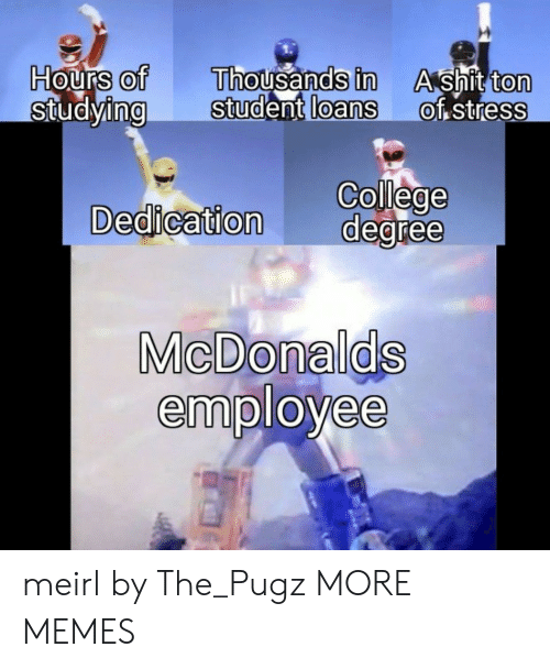 College, Dank, and Memes: Hours of Thousands in  ng Student loans  Ashit ton  of stress  0  0  0  0  0  College  Dedication degree  MicDonalds  employee meirl by The_Pugz MORE MEMES