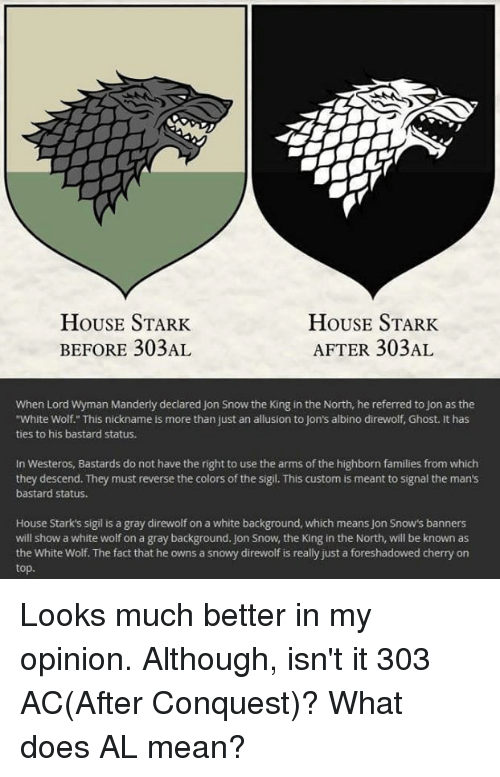 House Stark House Stark Before 303al After 303al When Lord Wyman
