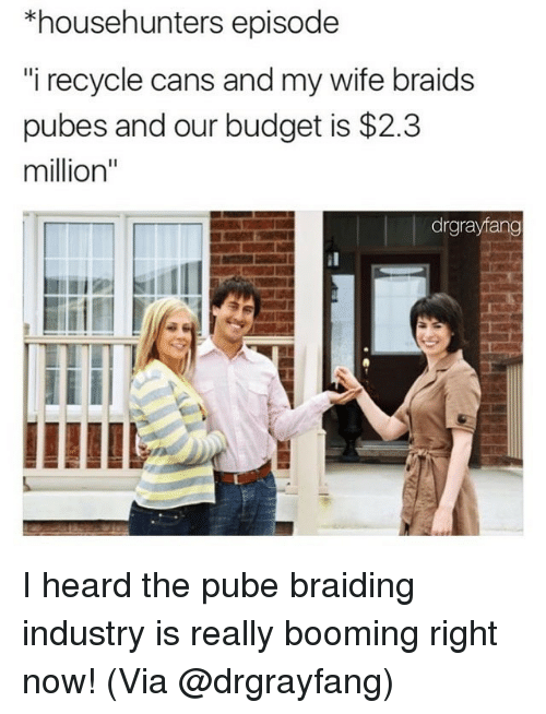 """Braids, Memes, and Budget: *househunters episode  i recycle cans and my wife braids  pubes and our budget is $2.3  million""""  drgrayfang I heard the pube braiding industry is really booming right now! (Via @drgrayfang)"""