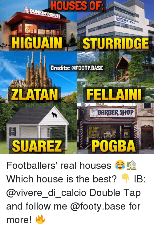 Memes, 🤖, and Ibs: HOUSES OF  complex  HIGUAIN STURRIDGE  Credits: FOOTy BASE  ZLATAN FELLA INI  SUAREZ POGBA Footballers' real houses 😂🏡 Which house is the best? 👇 IB: @vivere_di_calcio Double Tap and follow me @footy.base for more! 🔥