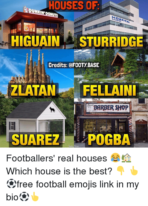 Memes, Barber Shop, and 🤖: HOUSES OF  complex  HIGUAIN STURRIDGE  Credits: @FOOTY BASE  ZLATAN  FELLA NI  BARBER SHOP  SUAREZ POGBA Footballers' real houses 😂🏡 Which house is the best? 👇 👆⚽free football emojis link in my bio⚽👆