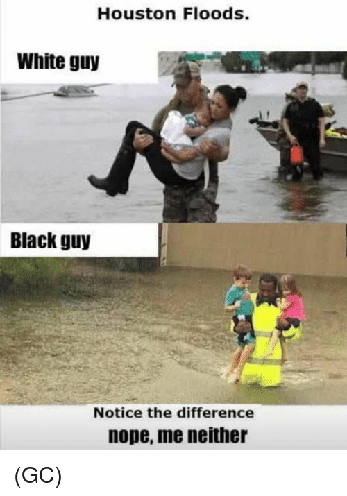 Memes, Black, and Houston: Houston Floods.  White guy  Black guy  Notice the difference  nope, me neither (GC)