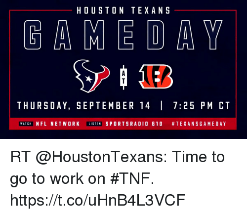 Houston Texans Gameday Thursday September 14725 Pm Ct Watch