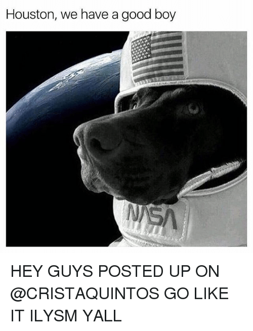 Relatable, Hey, and Ilysm: Houston, we have a good boy HEY GUYS POSTED UP ON @CRISTAQUINTOS GO LIKE IT ILYSM YALL