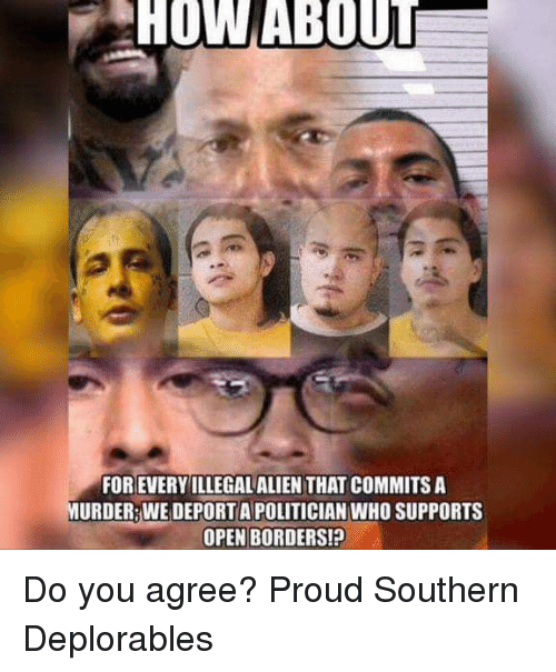 Memes, Alien, and Proud: HOW ABOUT  FOR EVERYILLEGAL ALIEN THAT COMMITS A  URDER WE DEPORT A POLITICIAN WHO SUPPORTS  OPEN BORDERS! Do you agree? Proud Southern Deplorables