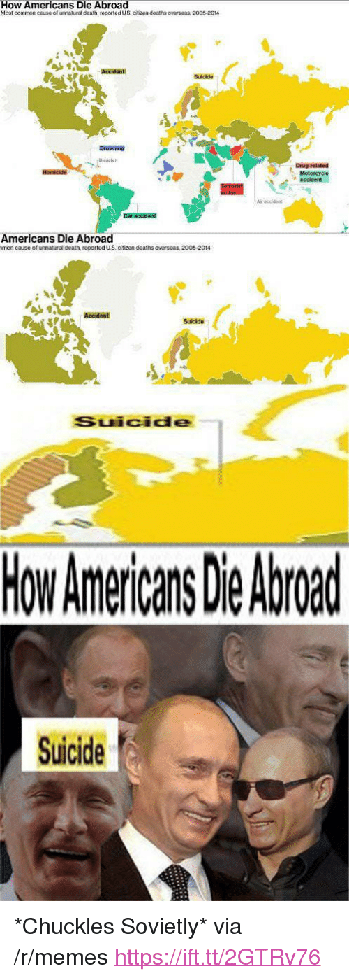 """Memes, Common, and Death: How Americans Die Abroad  Most common cause of urnatura daam, reported us atizen deaths ơvarsaas, 2005-2014  Suidde  Drowning  Drug-rolated  roccidone  Americans Die Abroad  mon cause of unnatural death, reported US, citizen deaths overseas, 2005-2014  Sulcide  Suicide  How Americans Die Abroad  Suicide <p>*Chuckles Sovietly* via /r/memes <a href=""""https://ift.tt/2GTRv76"""">https://ift.tt/2GTRv76</a></p>"""