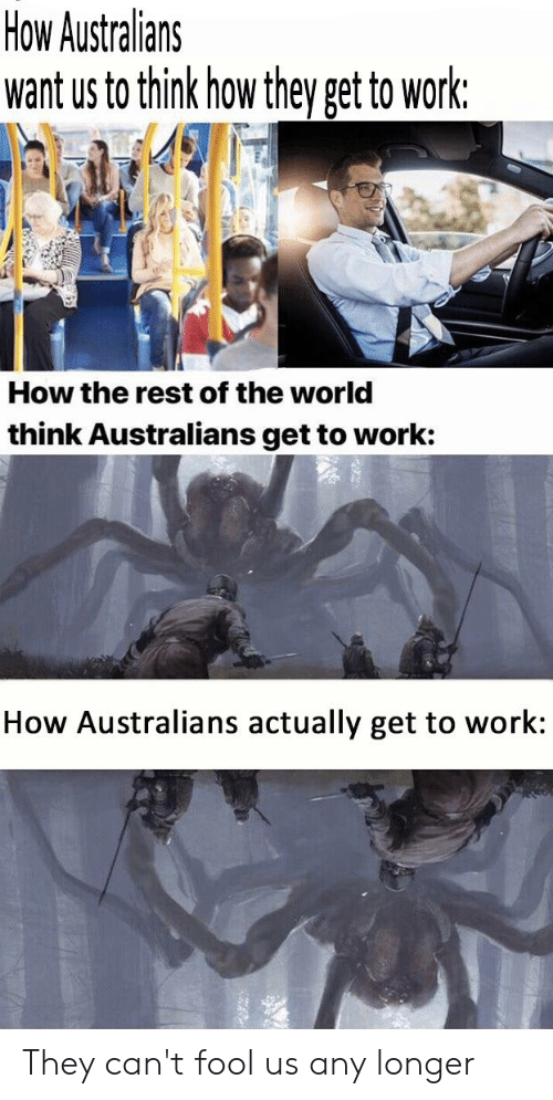 Reddit, Work, and World: How Australians  want us to think how they get to work:  How the rest of the world  think Australians get to work:  How Australians actually get to work: They can't fool us any longer