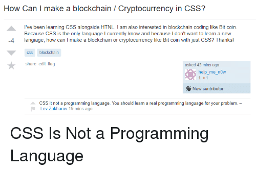How Can I Make a Blockchain Cryptocurrency in CSS? I've Been