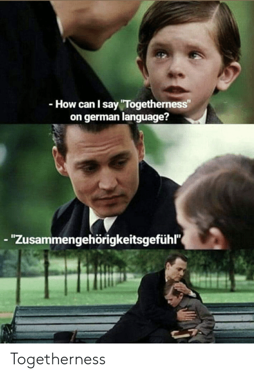 """Funny, German (Language), and How: -How can I say """"Togetherness""""  on german language?  - """"Zusammengehörigkeitsgefühl Togetherness"""