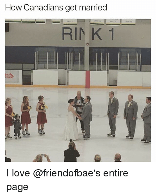 Love, Dank Memes, and How: How Canadians get married  RINK 1 I love @friendofbae's entire page