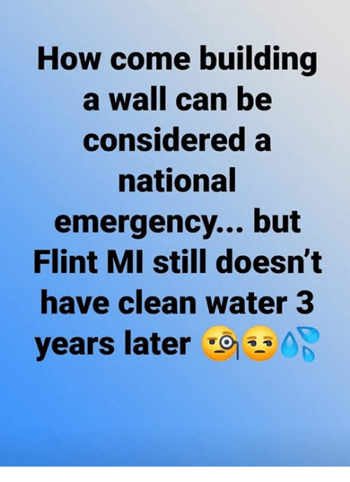 Water, How, and Flint: How come building  a wall can be  considered a  national  emergency... but  Flint MI still doesn't  have clean water 3  years later