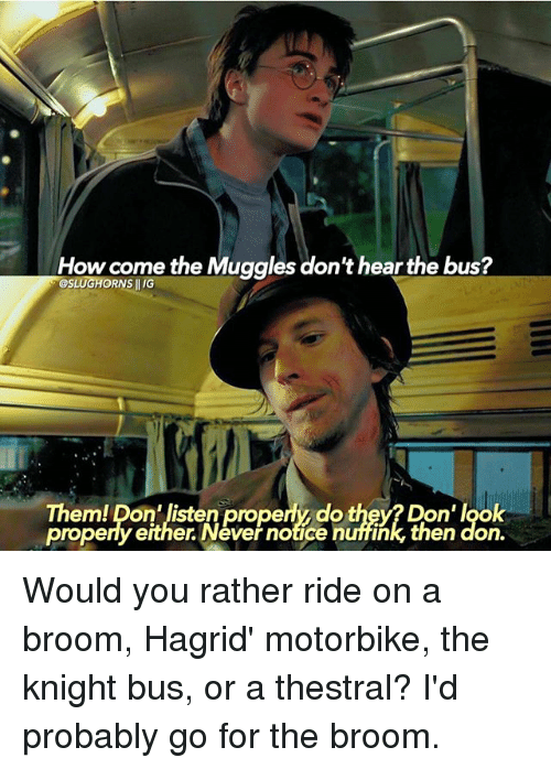 Memes, Would You Rather, and Never: How come the Muggles don't hear the bus?  GESLUGHORNS Them! pon listen properly do they? Don' look  propery either. Never notice nuffink, then done Would you rather ride on a broom, Hagrid' motorbike, the knight bus, or a thestral? I'd probably go for the broom.