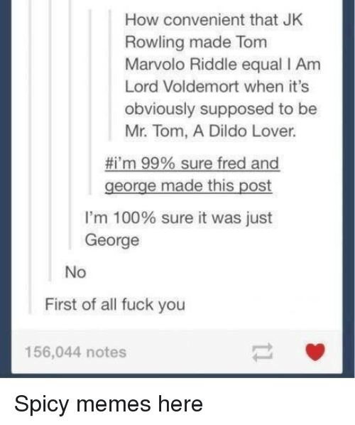 Anaconda, Dildo, and Fuck You: How convenient that JK  Rowling made Tom  Marvolo Riddle equal I Am  Lord Voldemort when it's  obviously supposed to be  Mr. Tom, A Dildo Lover  #i'm 99% sure fred and  george made this post  I'm 100% sure it was just  George  No  First of all fuck you  156,044 notes Spicy memes here