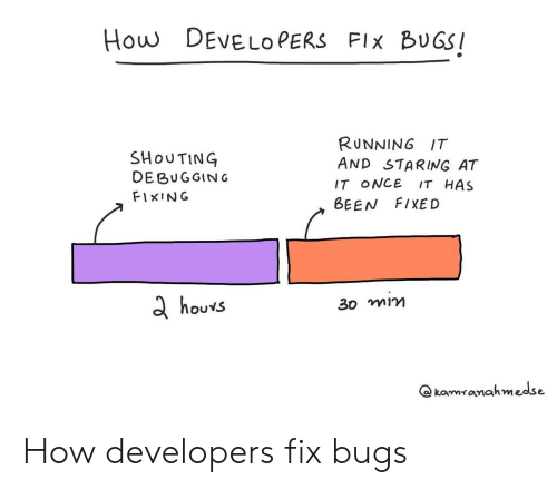 Running, Been, and How: How DEVELO PERS FIx BUGS  SHoUTING  DE BUGGING  FIxING  RUNNING IT  AND STARING AT  IT ONCE IT HAS  BEEN FIXED  d houvs  3o mim  @ komィanahmesse How developers fix bugs