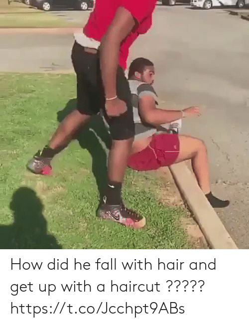 Fall, Funny, and Haircut: How did he fall with hair and get up with a haircut ?????  https://t.co/Jcchpt9ABs