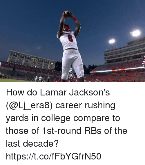 College, Memes, and 🤖: How do Lamar Jackson's (@Lj_era8) career rushing yards in college compare to those of 1st-round RBs of the last decade? https://t.co/fFbYGfrN50