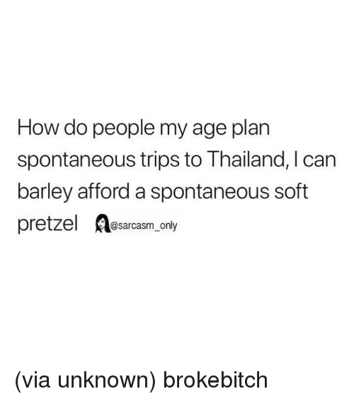 Funny, Memes, and Thailand: How do people my age plan  spontaneous trips to Thailand, I can  barley afford a spontaneous soft  pretzel A@sarcasm only (via unknown) brokebitch
