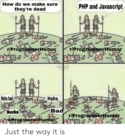 Bad, Haha, and How: How do we make sure  PHP and Javascript  they're dead  r/ProgranerHumor  r/ProgranmerHumor  Haha bad  Haha  Bad  Sucks  r/ProgranerHuntor  FProgranmerHumor Just the way it is
