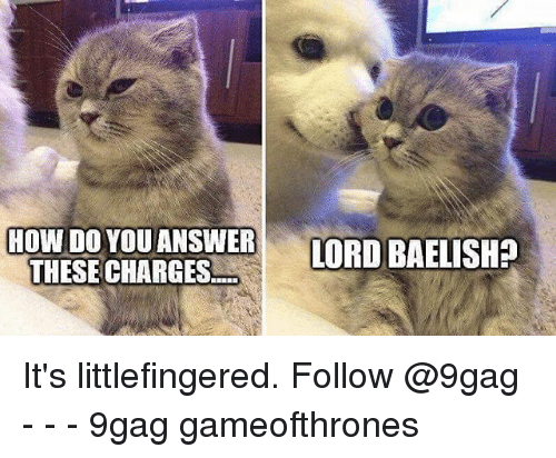 9gag, Memes, and 🤖: HOW DO YOU ANSWERORD BAELISH?  THESE CHARGES It's littlefingered. Follow @9gag - - - 9gag gameofthrones