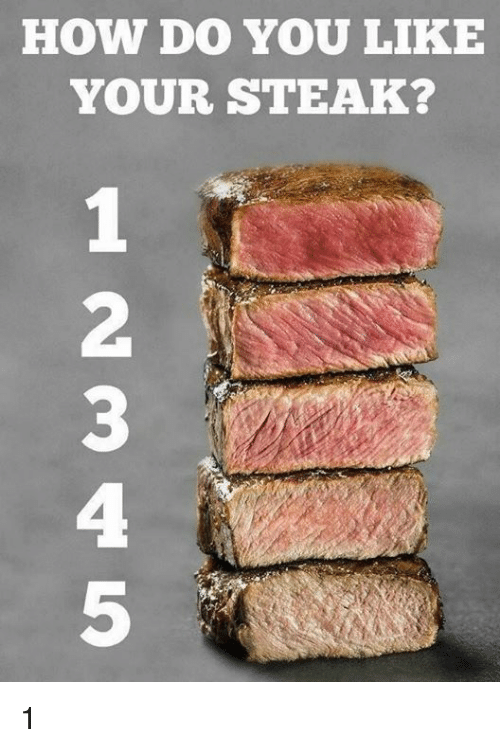 Dank, 🤖, and How: HOW DO YOU LIKE  YOUR STEAK?  2  3  4  5 1