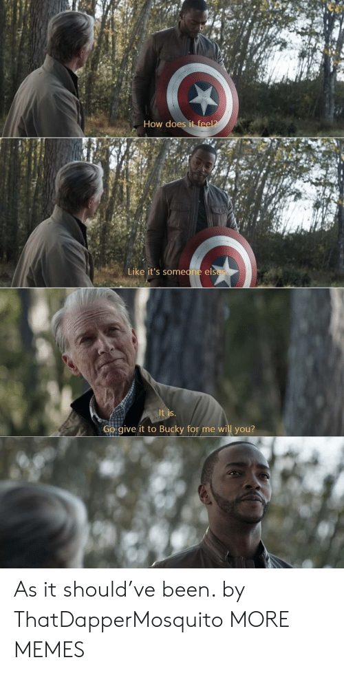 Dank, Memes, and Target: How does it feel?  Like it's someone elses  It is.  Go give it to Bucky for me will you? As it should've been. by ThatDapperMosquito MORE MEMES