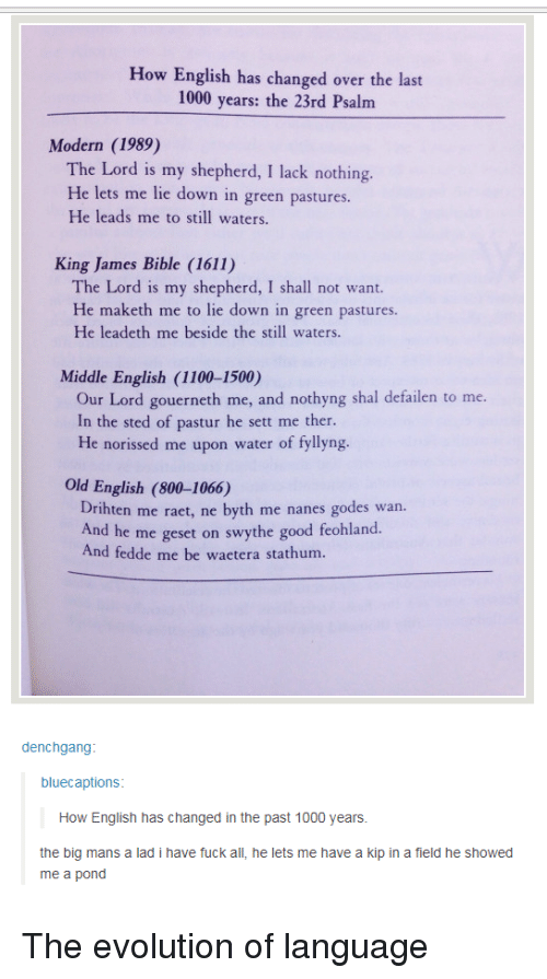 how has the english language changed