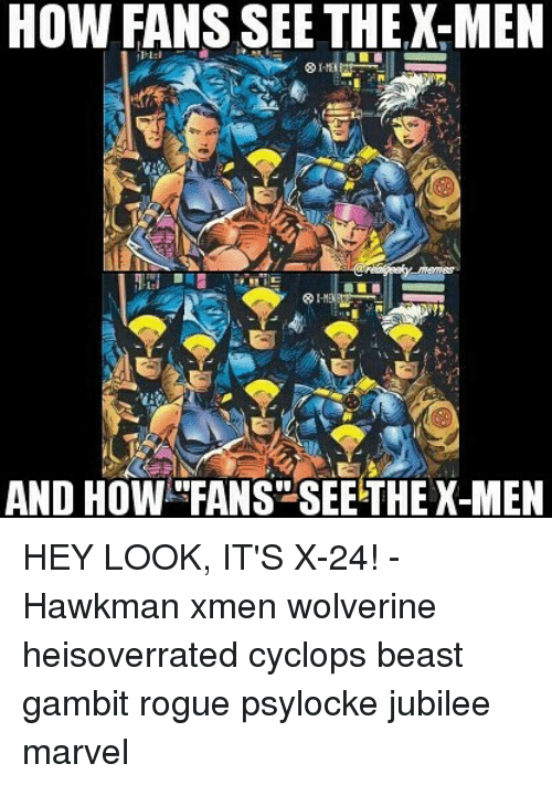 """Memes, Wolverine, and X-Men: HOW FANS SEE THEX-MEN  AND HOW """"FANS""""SEE THE X-MEN HEY LOOK, IT'S X-24! - Hawkman xmen wolverine heisoverrated cyclops beast gambit rogue psylocke jubilee marvel"""