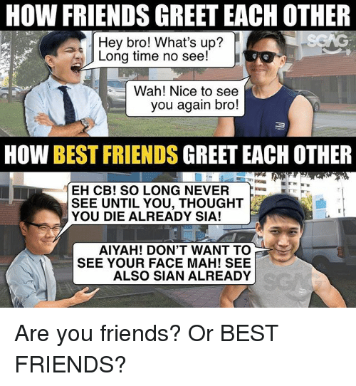 Friends, Memes, and Best: HOW FRIENDS GREET EACH OTHER  Hey bro! What's up?  Long time no see!  Wah! Nice to see  you again bro!  HOW BEST FRIENDS GREET EACH OTHER  EH CB! SO LONG NEVER  SEE UNTIL YOU, THOUGHT  YOU DIE ALREADY SIA!  AIYAH! DON'T WANT TO  SEE YOUR FACE MAH! SEE  ALSO SIAN ALREADY Are you friends? Or BEST FRIENDS?