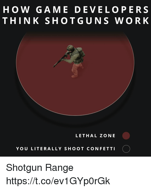 Work, Game, and How: HOW GAME DEVELOPERS  THINK SHOTGUNS WORK  LETHAL ZONE  YOU LITERALLY SHOOT CONFETTI O Shotgun Range https://t.co/ev1GYp0rGk
