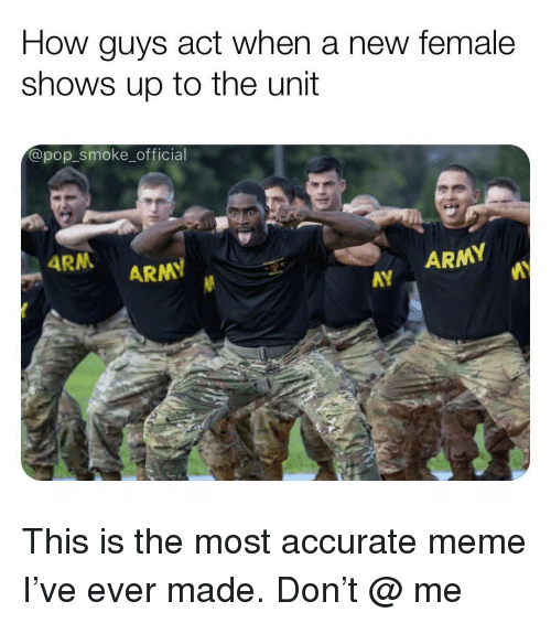 Meme, Memes, and Pop: How guys act when a new female  shows up to the unit  @pop_smoke_official  ARN  ARMY  ARMY  AY  AY This is the most accurate meme I've ever made. Don't @ me