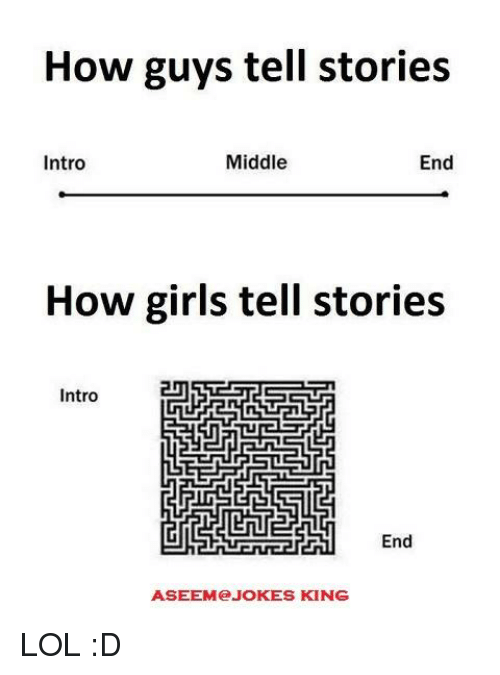 Memes, 🤖, and Intro: How guys tell stories  Middle  End  Intro  How girls tell stories  Intro  End  ASEEM JOKES KING LOL :D