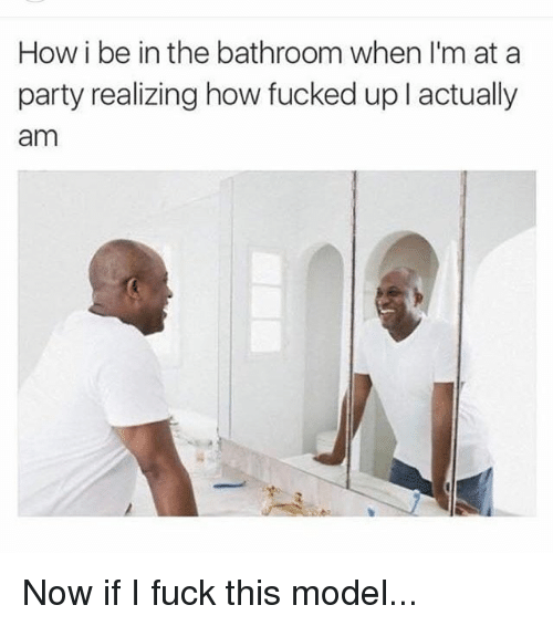 Bathroom Model Meme how i be in the bathroom when i'm at a party realizing how fucked