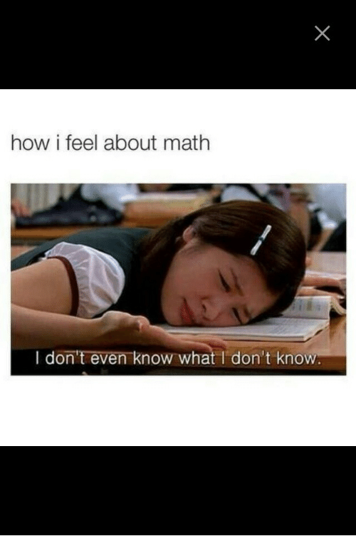 Math, How, and What: how i feel about math  I don't even know what I don't know