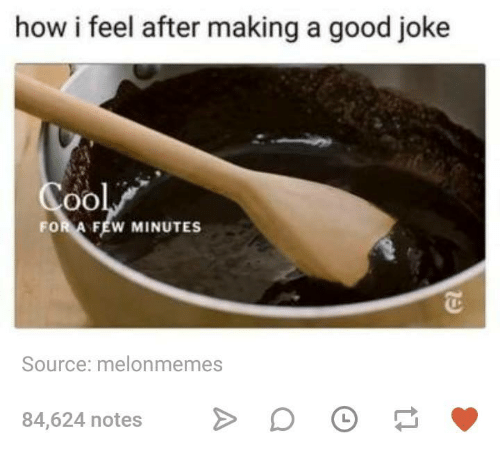 Good, Humans of Tumblr, and How: how i feel after making a good joke  FOR A FEW MINUTES  Source: melonmemes  84,624 notes