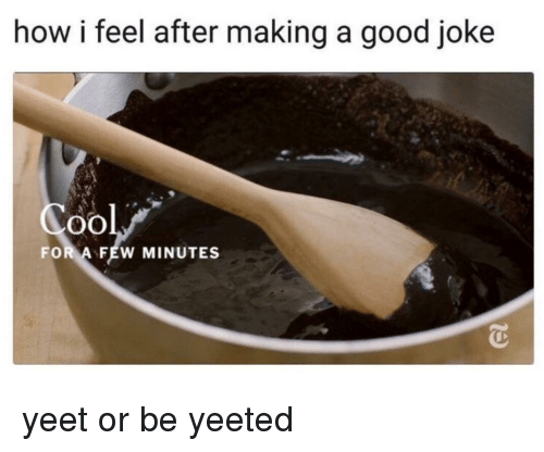 Good, How, and Making A: how i feel after making a good joke  oO  FOR A FEW MINUTES yeet or be yeeted