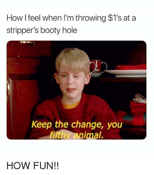 Booty, Memes, and Strippers: How I feel when I'm throwing $1's at a  stripper's booty hole  D.  Keep the change, you  ilthy animal. HOW FUN!!
