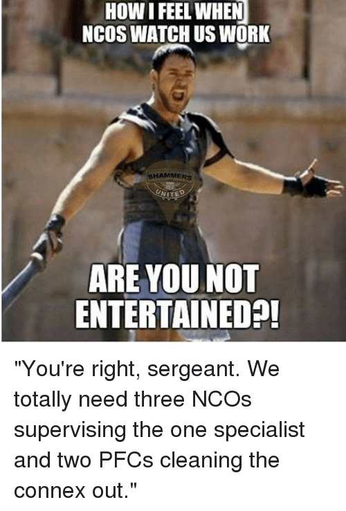 "Work, Watch, and How: HOW I FEEL WHEN  NCOS WATCH US WORK  SHAMMERS  ARE YOU NOT  ENTERTAINEDA! ""You're right, sergeant. We totally need three NCOs supervising the one specialist and two PFCs cleaning the connex out."""