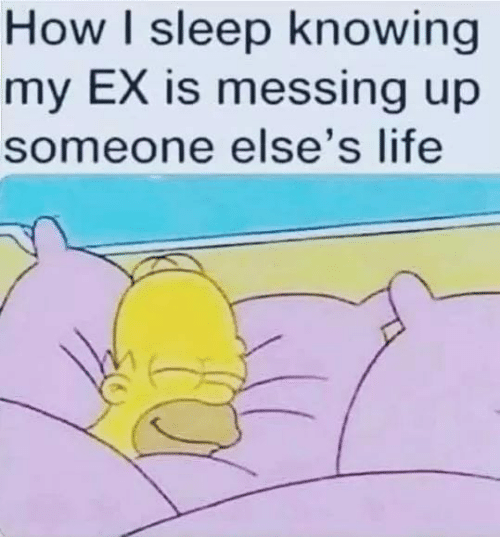 Life, Memes, and Sleep: How I sleep knowing  my EX is messing up  someone else's life