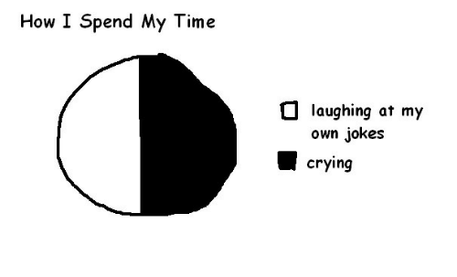 Crying, Jokes, and Time: How I Spend My Time  O laughing at my  own jokes  crying