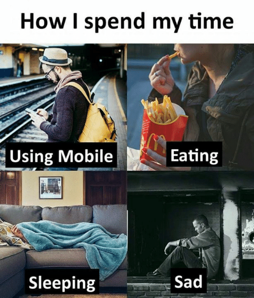 Memes, Time, and Sleeping: How I spend my time  Using Moble ting  Sleeping  Sad
