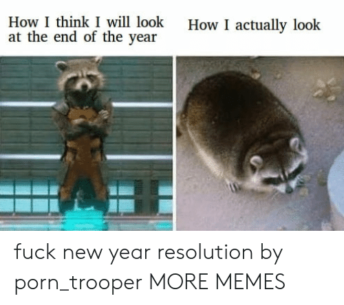 Dank, Memes, and New Year's: How I think I will look  at the end of the year  How I actually look fuck new year resolution by porn_trooper MORE MEMES