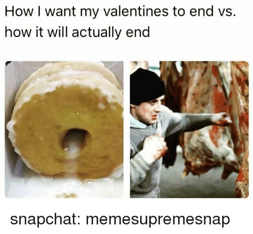 Snapchat, How, and Will: How I want my valentines to end vs.  how it will actually end snapchat: memesupremesnap