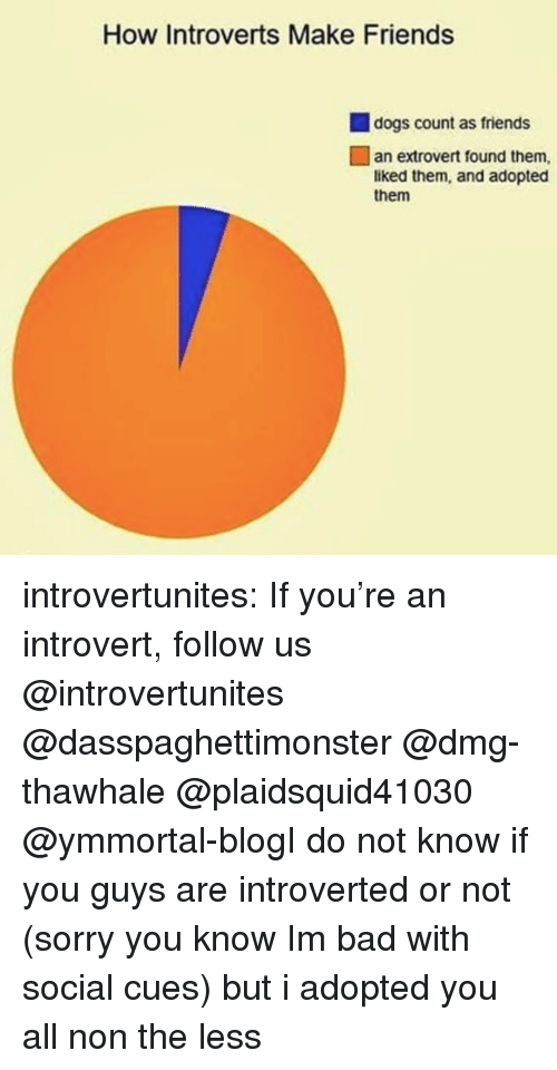 Bad, Dogs, and Friends: How Introverts Make Friends  dogs count as friends  an extrovert found them,  liked them, and adopted  them introvertunites:  If you're an introvert, follow us @introvertunites​  @dasspaghettimonster @dmg-thawhale @plaidsquid41030 @ymmortal-blogI do not know if you guys are introverted or not (sorry you know Im bad with social cues) but i adopted you all non the less