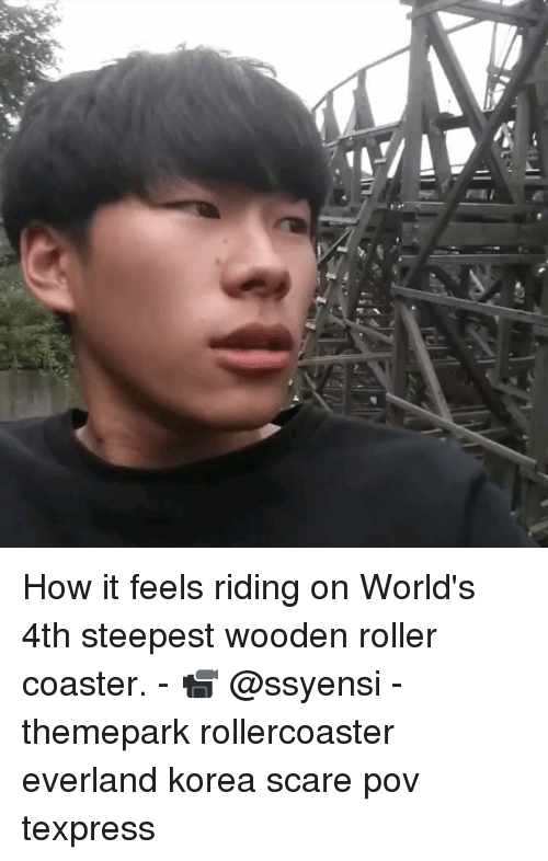 Memes, Scare, and 🤖: How it feels riding on World's 4th steepest wooden roller coaster. - 📹 @ssyensi - themepark rollercoaster everland korea scare pov texpress