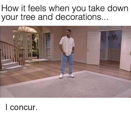 How It Feels When You Take Down Your Tree And Decorations I Concur