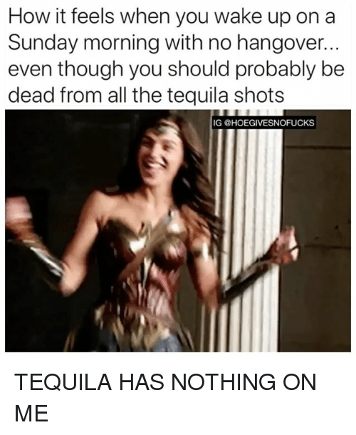 Hangover, Tequila, and Sunday: How it feels when you wake up on a  Sunday morning with no hangover...  even though you should probably be  dead from all the tequila shots  IG @HOEGIVESNOFUCKS TEQUILA HAS NOTHING ON ME