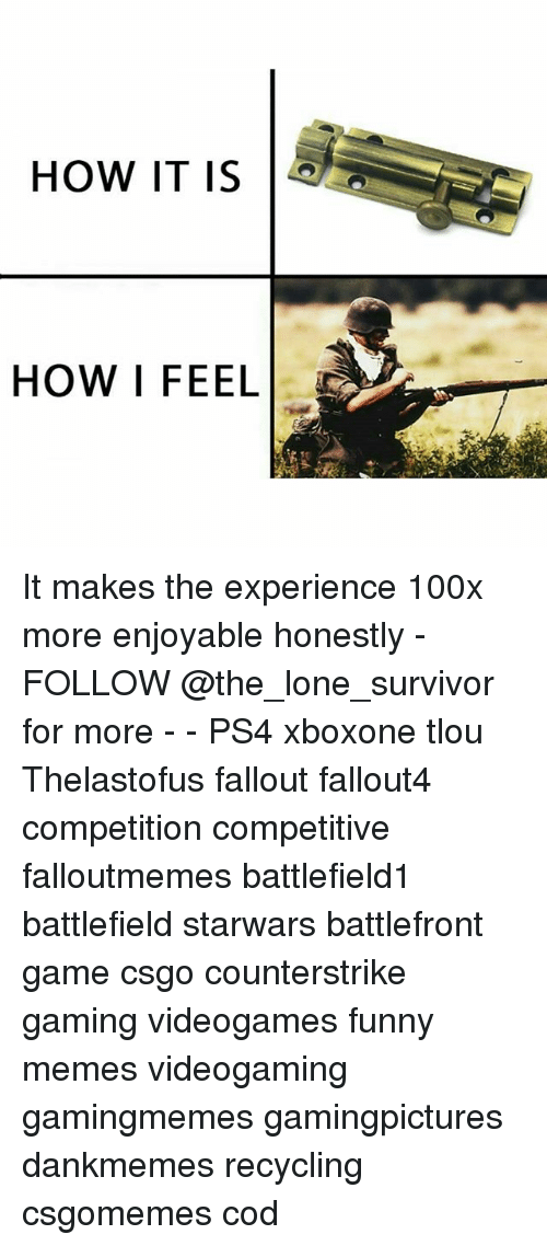 Funny, Memes, and Ps4: HOW IT IS  HOW I FEEL It makes the experience 100x more enjoyable honestly - FOLLOW @the_lone_survivor for more - - PS4 xboxone tlou Thelastofus fallout fallout4 competition competitive falloutmemes battlefield1 battlefield starwars battlefront game csgo counterstrike gaming videogames funny memes videogaming gamingmemes gamingpictures dankmemes recycling csgomemes cod