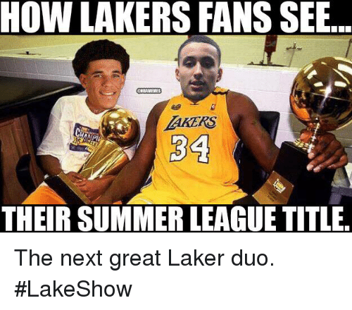Los Angeles Lakers, Nba, and Summer: HOW LAKERS FANS SEB  THEIR SUMMER LEAGUE TITLE The next great Laker duo. #LakeShow