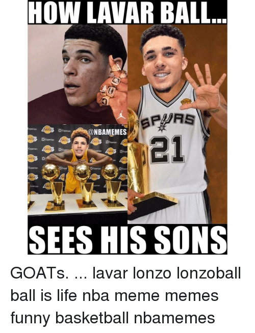 Memes, 🤖, and Experian: HOW LAVAR BALL  Experian  @NBAMEMES  Experian  Experian  Experian  SEES HIS SONS GOATs. ... lavar lonzo lonzoball ball is life nba meme memes funny basketball nbamemes